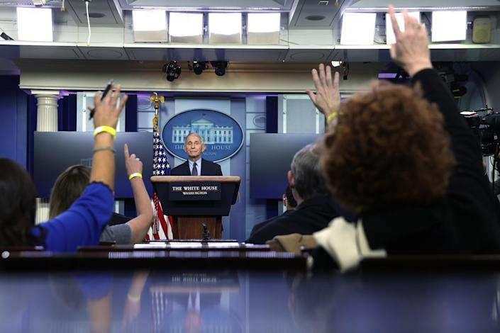"""Fauci during a White House press briefing on Jan. 21.<span class=""""copyright"""">Alex Wong—Getty Images</span>"""
