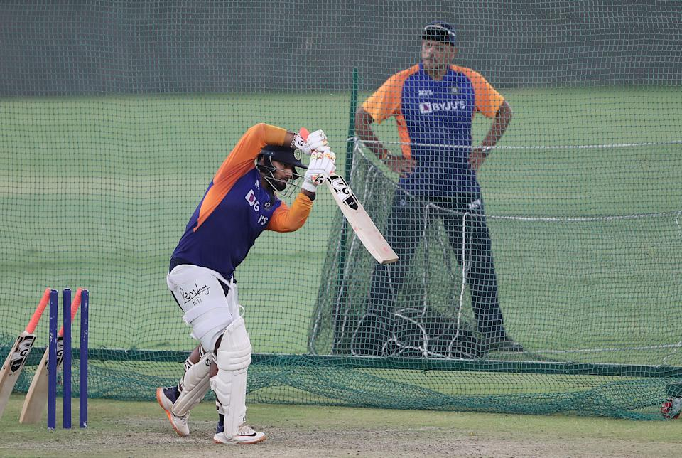 Rishabh Pant of India bats watched on by India Head Coach Ravi Shastri during an India Net Session at Narendra Modi Stadium on March 09, 2021 in Ahmedabad, India. (Photo by Surjeet Yadav/Getty Images)
