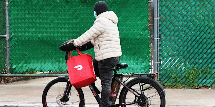 DoorDash delivery driver courier brooklyn bike