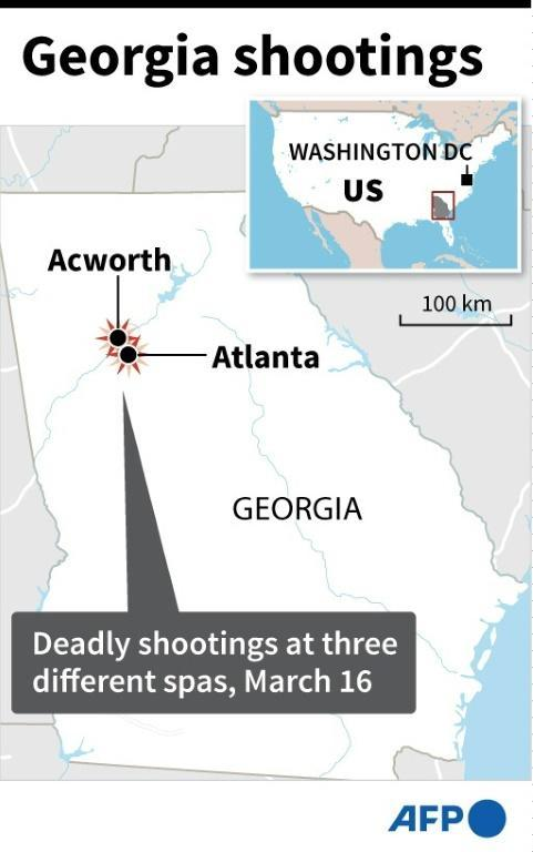 Map of the US state of Georgia locating Atlanta and Acworth, where eight people were killed in shootings at three different spas