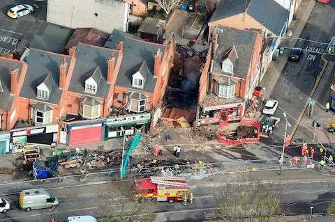 Aerial view of the scene of an explosion in Leicester - Credit: Tristan Potter / SWNS.com