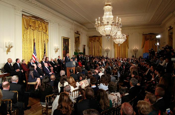 <p>President Obama speaks at a ceremony awarding the Presidential Medal of Freedom to various recipients in the East Room of the White House, Nov. 22, 2016. (Yuri Gripas/Reuters) </p>