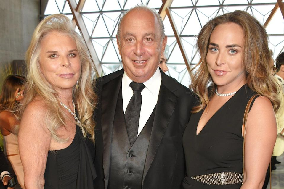 <p>Sir Philip Green with his wife Tina, left, and daughter Chloe</p> (Dave Benett/Getty Images)