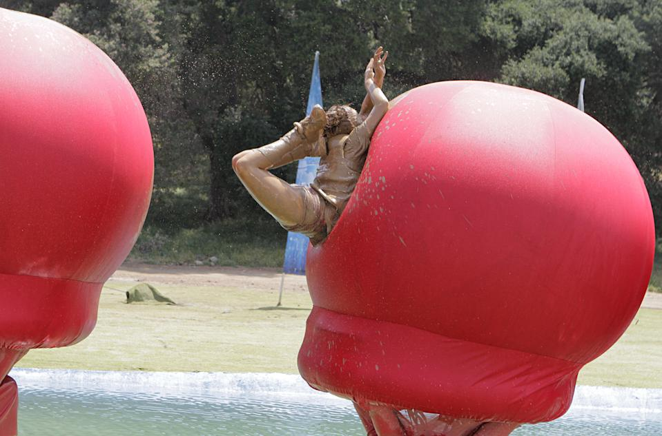 "Another contestant competes on ""Wipeout"" in this July 2020 photo. (Photo: Endemol Shine)"
