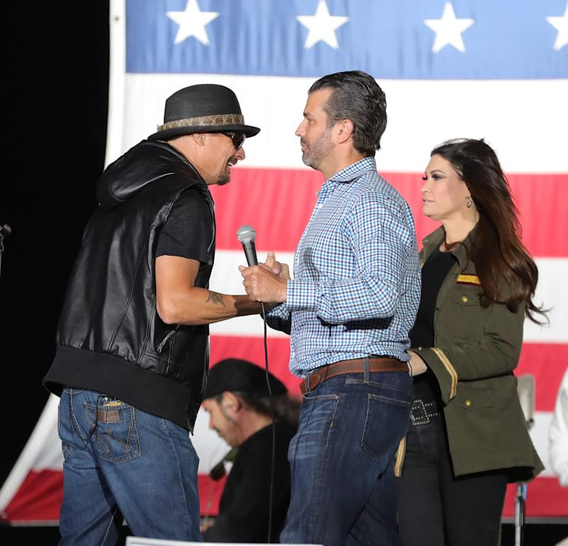 Donald Trump Jr. spoke at a rally in Harrison Township, Michigan, on Sept. 14. A couple thousand supporters were there along with Kid Rock, who sang a few songs after Trump spoke.