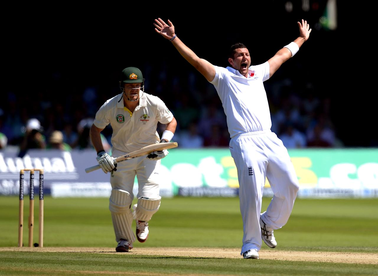 England's Tim Bresnan appeals for the wicket of Australia's Shane Watson LBW on day two of the Second Investec Ashes Test at Lord's Cricket Ground, London.