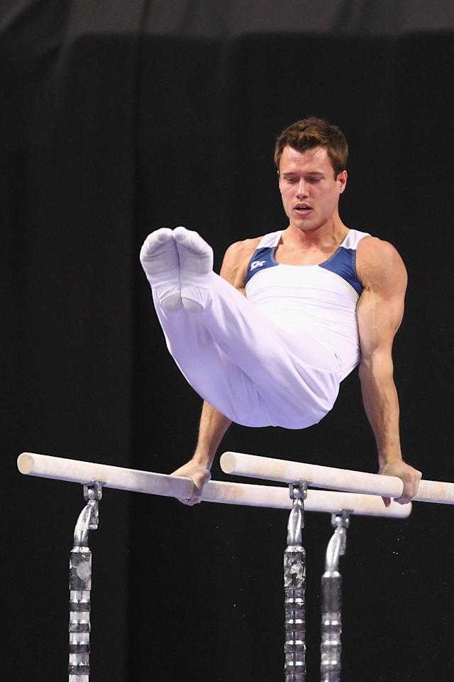 ST. LOUIS, MO - JUNE 9: R.J. Heflin competes on the parallel bars during the Senior Men's competition on Day Three of the Visa Championships at Chaifetz Arena on June 9, 2012 in St. Louis, Missouri. (Photo by Dilip Vishwanat/Getty Images)