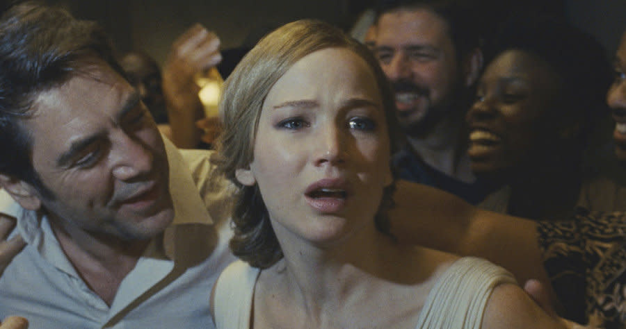 Jennifer Lawrence and Javier Bardem in 'mother!' (Credit: Paramount)