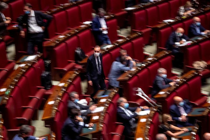 ROME, ITALY - JULY 29: A general view of the Camera dei Deputati (Chamber of Deputies) during the debate about further initiatives related to the Covid-19 emergency, on July 29, 2020 in Rome, Italy. Today Italian Prime Minister Giuseppe Conte reported at the Camera dei Deputati (Chamber of Deputies) to ask to vote on the extension of the state of emergency related to the Covid-19 emergency. (Photo by Antonio Masiello/Getty Images) (Photo: Antonio Masiello via Getty Images)
