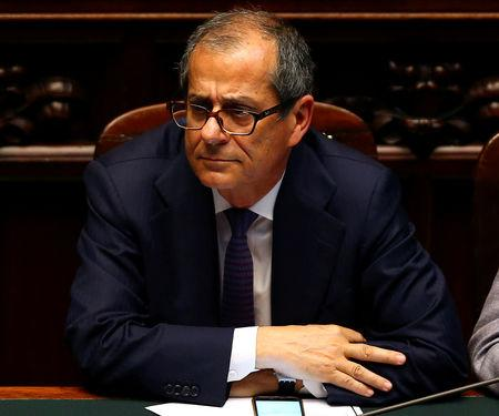 Giovanni Tria attends during his first session at the Lower House of the Parliament in Rome