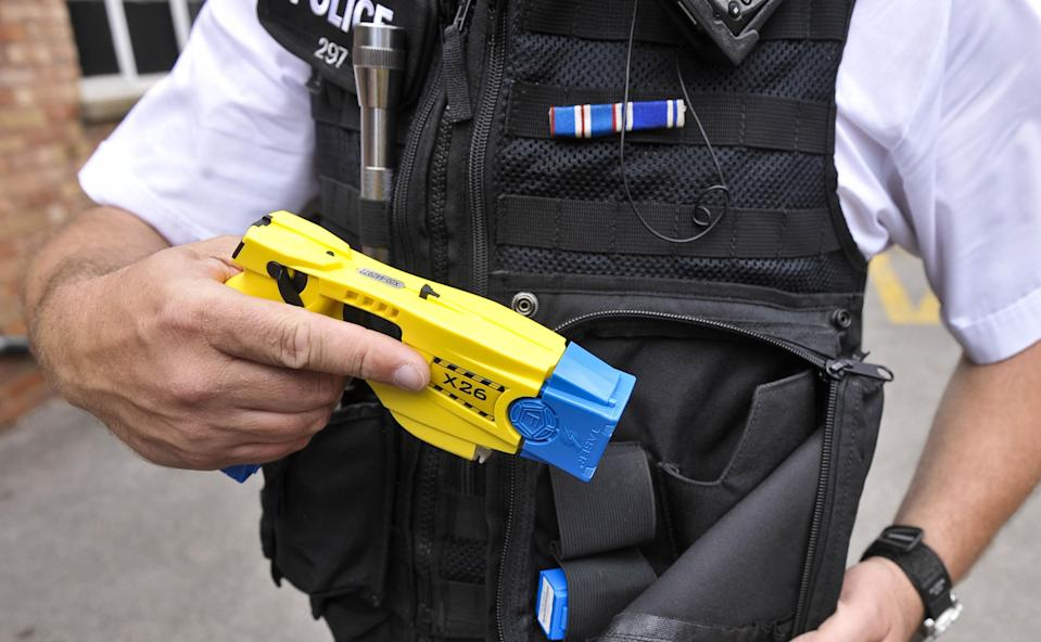 """Extra protection: Tasers will be issued to every frontline officer in one police force in response to a """"sickening trend"""" of attacks on the emergency services."""