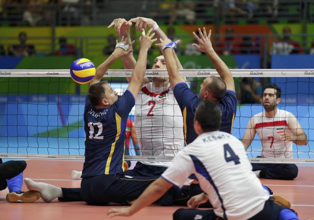2016 Rio Paralympics - Sitting Volleyball - Final - Men's Gold Medal Match - Riocentro Pavilion 6 - Rio de Janeiro, Brazil - 18/09/2016. Morteza Mehrzadselakjani (IRI) of Iran in action. REUTERS/Ueslei Marcelino FOR EDITORIAL USE ONLY. NOT FOR SALE FOR MARKETING OR ADVERTISING CAMPAIGNS.