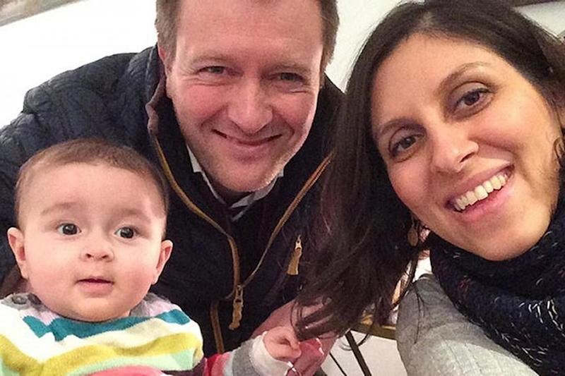 Nazanin Zaghari-Ratcliffe with her husband Richard Ratcliffe and their daughter Gabriella (PA)
