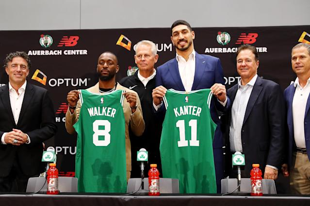 Kemba Walker and Enes Kanter were the Celtics biggest additions for the 2019-20 season. (Photo by Tim Bradbury/Getty Images)