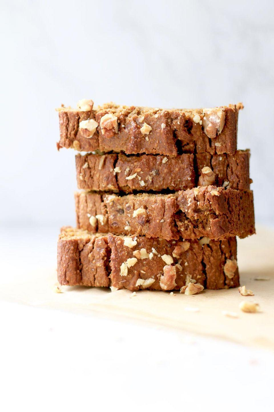 """<p>Make one of these at the beginning of the week, and you've got a healthy breakfast every morning. </p><p><strong>Get the recipe at <a href=""""https://marisamoore.com/gluten-free-pumpkin-banana-nut-bread/"""" rel=""""nofollow noopener"""" target=""""_blank"""" data-ylk=""""slk:Marisa Moore"""" class=""""link rapid-noclick-resp"""">Marisa Moore</a>.</strong> </p>"""