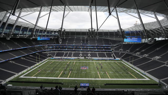 General view at the NFL pitch during the final tournament for the UK's NFL Flag Championship, featuring qualifying teams from around the country, at Tottenham Hotspur Stadium in London, Wednesday, July 3, 2019. The new stadium will host its first two NFL London Games later this year when the Chicago Bears face the Oakland Raiders and the Carolina Panthers take on the Tampa Bay Buccaneers.(AP Photo/Frank Augstein)