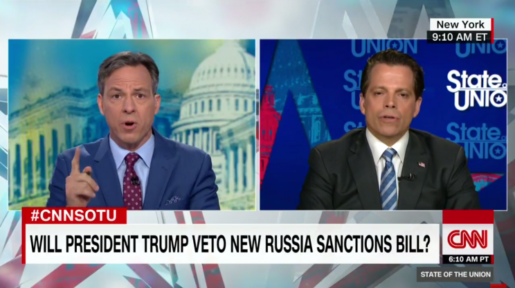 Tapper asks Scaramucci about Trump's refusal to accept the conclusion that Russia meddled in the 2016 election on Sunday. (CNN)