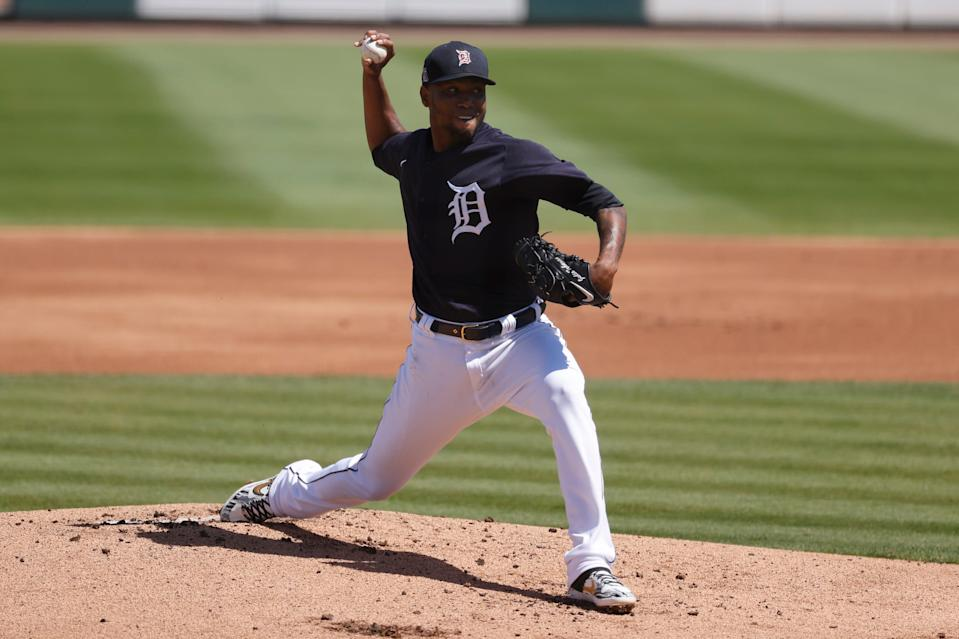 Detroit Tigers starting pitcher Julio Teheran throws a pitch against the New York Yankees during the first inning at Joker Marchant Stadium, March 12, 2021 in Lakeland, Fla.