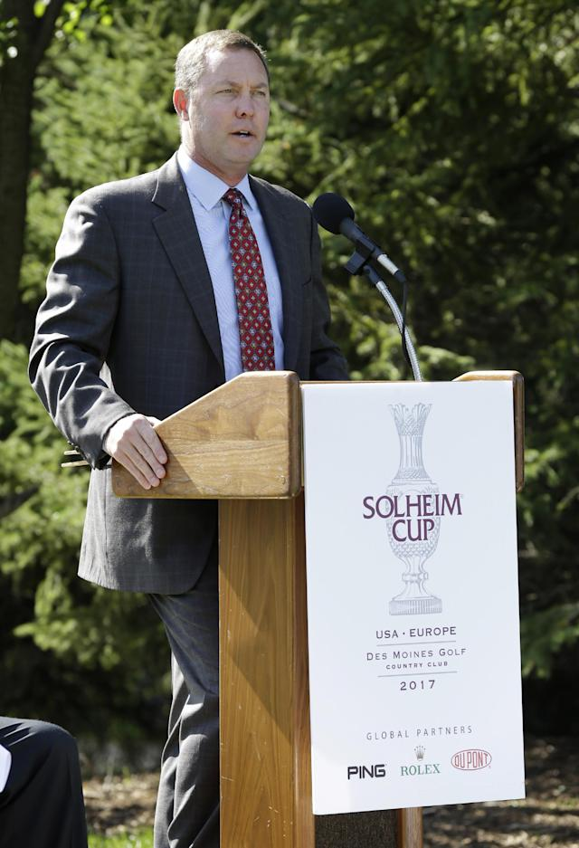 LPGA Commissioner Mike Whan speaks during a ceremony after officials announced that the Solheim Cup, a tournament pitting golfers from Europe and the U.S. against each other, will be held at the Des Moines Golf and Country Club in 2017, Monday, Sept. 23, 2013, in West Des Moines, Iowa. (AP Photo/Charlie Neibergall)
