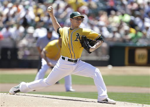 Oakland Athletics starting pitcher Jarrod Parker throws against the against the New York Yankees in the first inning of a baseball game Thursday, June 13, 2013, in Oakland, Calif. (AP Photo/Eric Risberg)