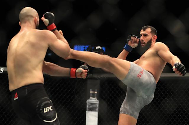 Volkan Oezdemir and Dominick Reyes in action during their light heavyweight bout at The O2 Arena, London. (Simon Cooper/PA Images via Getty Images)