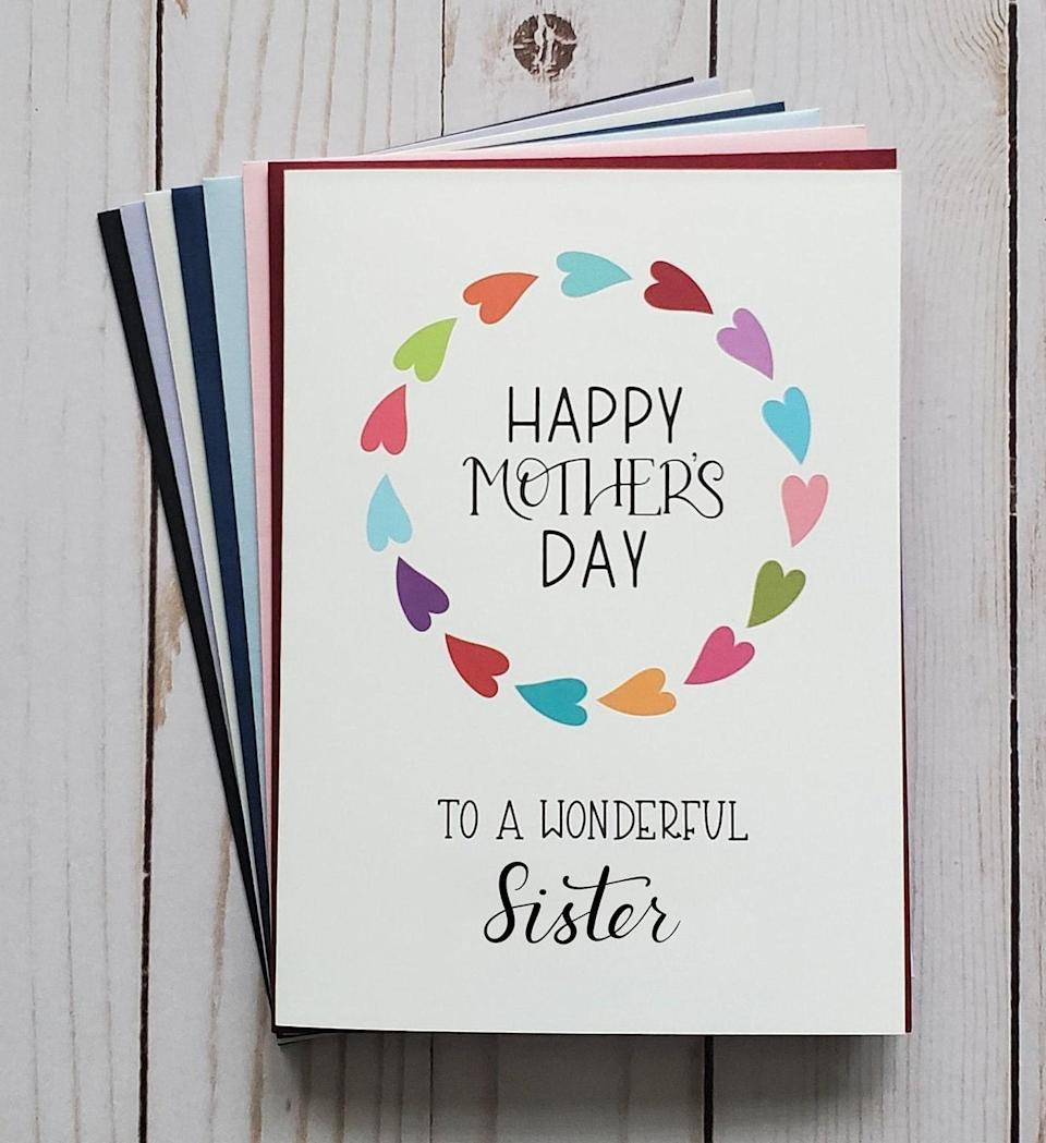 "<p><a href=""https://www.popsugar.com/buy/Happy-Mother-Day-Card-Sister-569458?p_name=Happy%20Mother%27s%20Day%20Card%20For%20Sister&retailer=etsy.com&pid=569458&price=4&evar1=moms%3Aus&evar9=44774025&evar98=https%3A%2F%2Fwww.popsugar.com%2Ffamily%2Fphoto-gallery%2F44774025%2Fimage%2F47431314%2FHappy-Mother-Day-Card-For-Sister&list1=sisters%2Cmotherhood%2Cmothers%20day&prop13=api&pdata=1"" class=""link rapid-noclick-resp"" rel=""nofollow noopener"" target=""_blank"" data-ylk=""slk:Happy Mother's Day Card For Sister"">Happy Mother's Day Card For Sister</a> ($4)</p>"