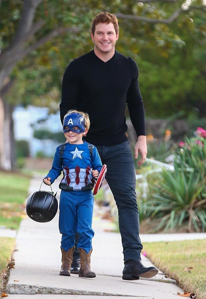 <p>Newly single Chris Pratt took his son with Anna Faris, Jack, out for candy in West Hollywood. Jack's costume of choice? Captain America. What, no Star-Lord? (Photo: Backgrid) </p>