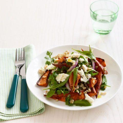 """<p>If you find yourself typically unsatisfied with a garden salad for lunch, then you've got to try this roasted sweet potato salad recipe. The sweet potatoes add in good carbs that will have you feeling fuller for longer.</p><p><em><a href=""""https://www.womansday.com/food-recipes/food-drinks/recipes/a12846/roasted-sweet-potato-salad-barley-arugula-recipe-wdy1214/"""" rel=""""nofollow noopener"""" target=""""_blank"""" data-ylk=""""slk:Get the Roasted Sweet Potato Salad with Barley and Arugula recipe."""" class=""""link rapid-noclick-resp"""">Get the Roasted Sweet Potato Salad with Barley and Arugula recipe.</a></em></p>"""