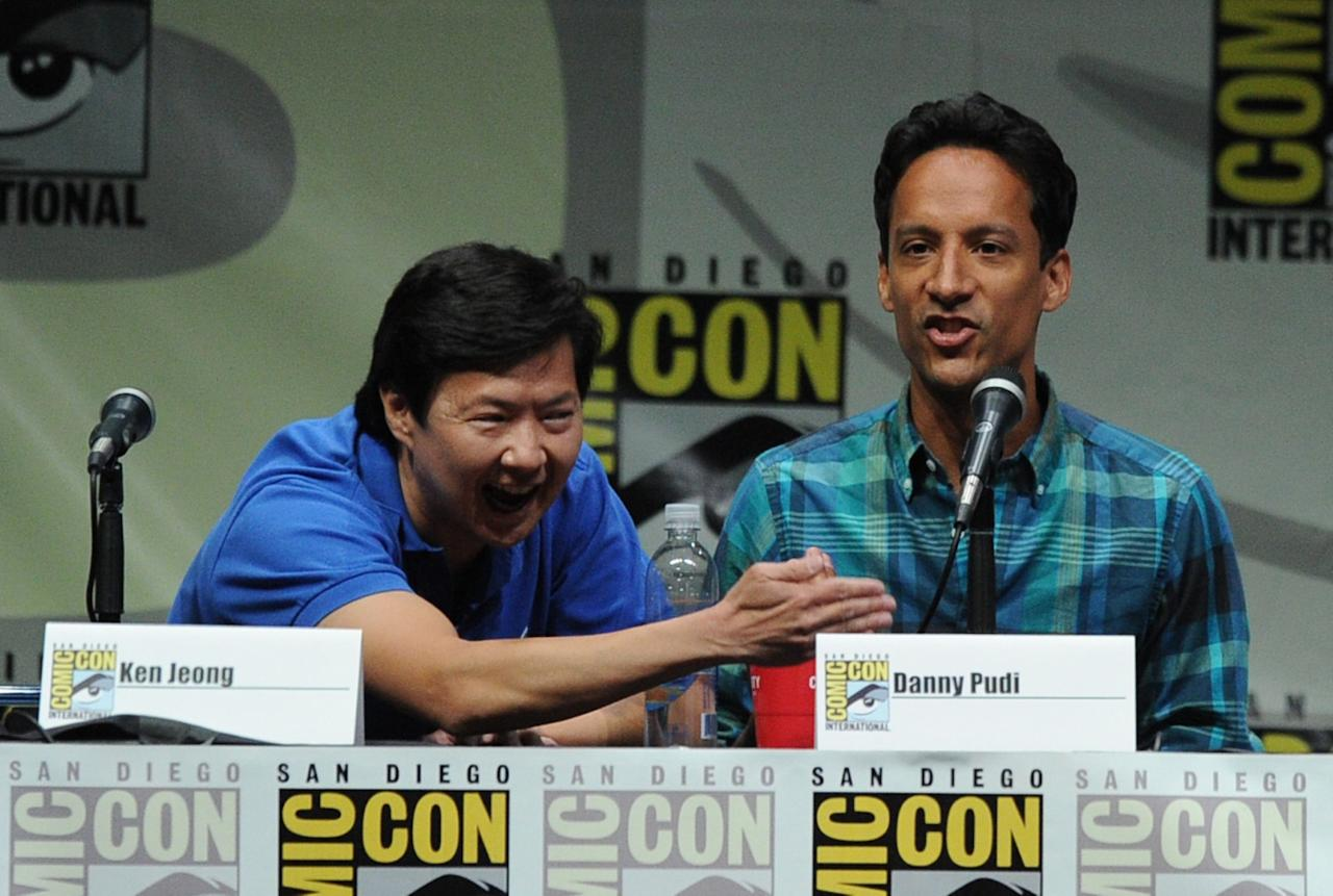"SAN DIEGO, CA - JULY 21: Actors Ken Jeong (L) and Danny Pudi speak onstage at the ""Community"" celebrating the fans during Comic-Con International 2013 at San Diego Convention Center on July 21, 2013 in San Diego, California. (Photo by Kevin Winter/Getty Images)"