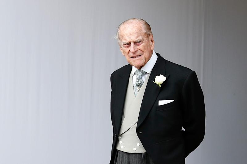 Prince Philip at the Oct. 12, 2018 wedding of granddaughter Princess Eugenie. He surrendered his driving license after his Jan. 17 car wreck.