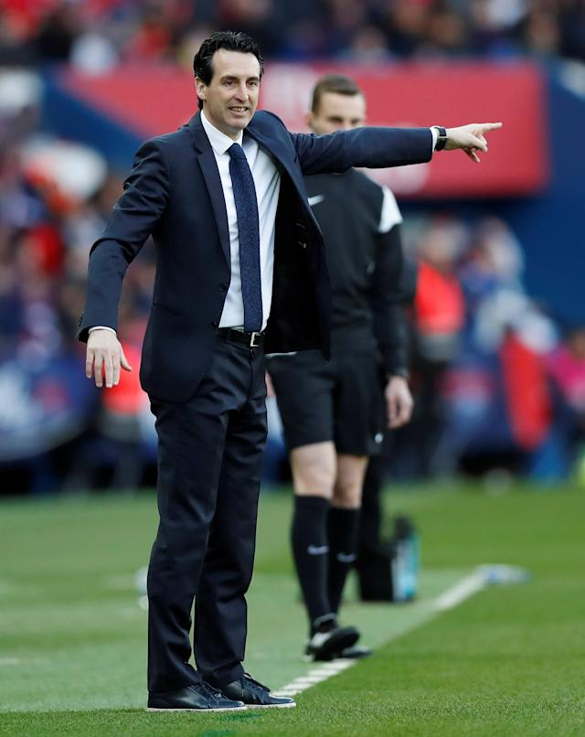 Soccer Football - Ligue 1 - Paris St Germain vs Angers - Parc des Princes, Paris, France - March 14, 2018 Paris Saint-Germain coach Unai Emery REUTERS/Gonzalo Fuentes