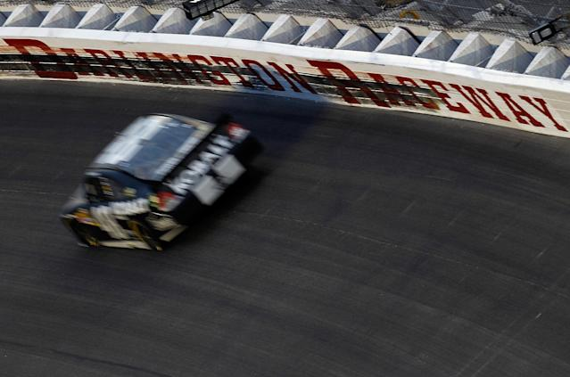 DARLINGTON, SC - MAY 12: Jimmie Johnson, driver of the #48 Lowe's/Kobalt Tools Chevrolet, races during the NASCAR Sprint Cup Series Bojangles' Southern 500 at Darlington Raceway on May 12, 2012 in Darlington, South Carolina. (Photo by Jeff Zelevansky/Getty Images for NASCAR)
