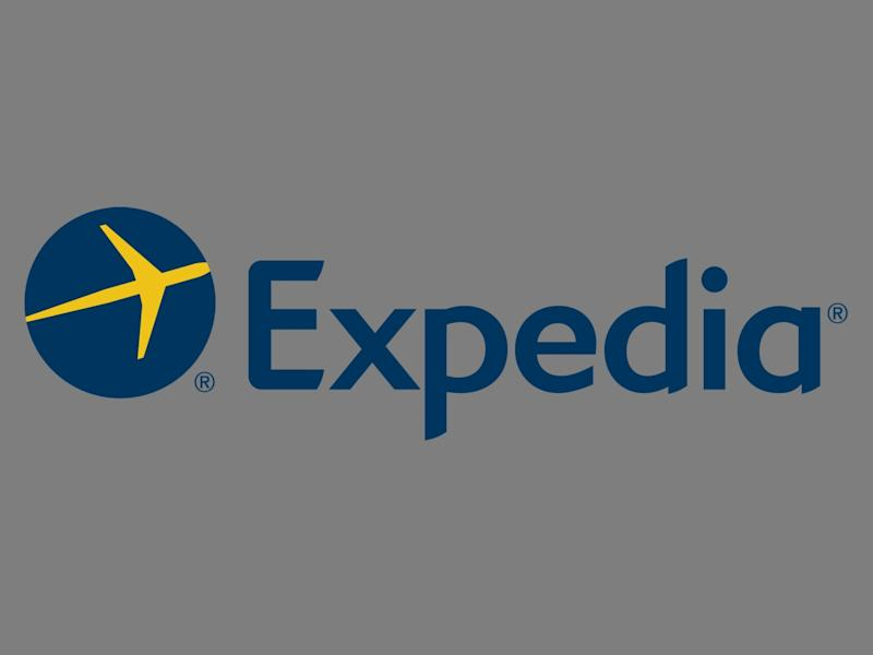 EXPEDIA logo, online travel agency, graphic element on gray