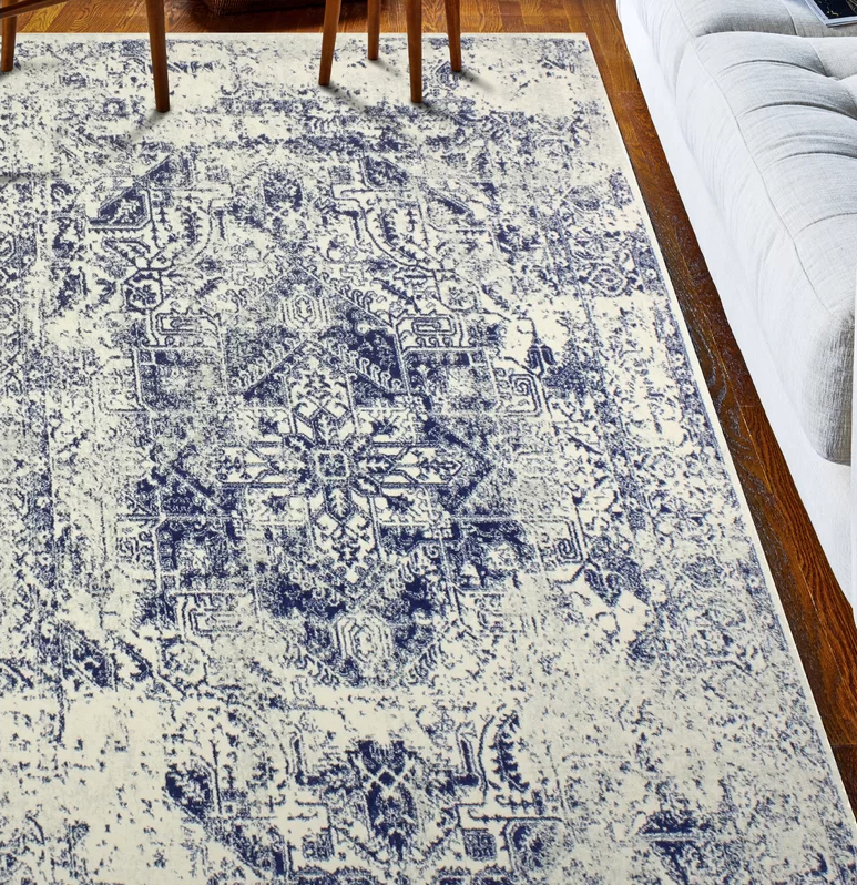 Bungalow Rose Arlingham Ivory/Blue Area Rug.