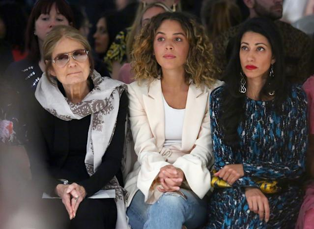 From left, Gloria Steinem, Cleo Wade, and Huma Abedin sit front row at the Prabal Gurung fashion show during New York Fashion Week, Sept. 10, 2017, in New York. (Photo: Getty Images)