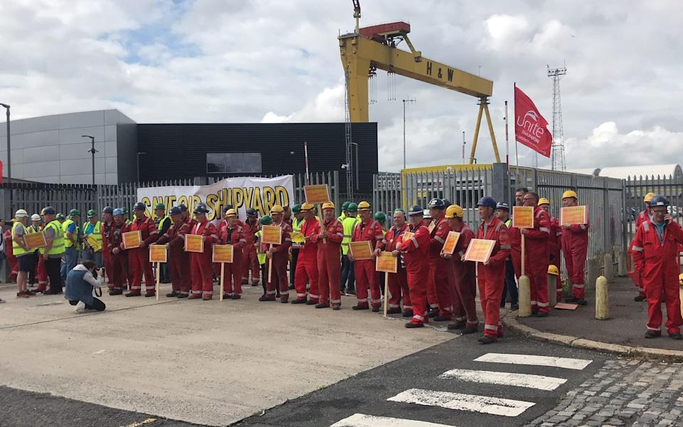 Workers demonstrate against the threat of closure at the Harland and Wolff shipyard before its last-gasp rescue in 2019 - Rebecca Black/PA