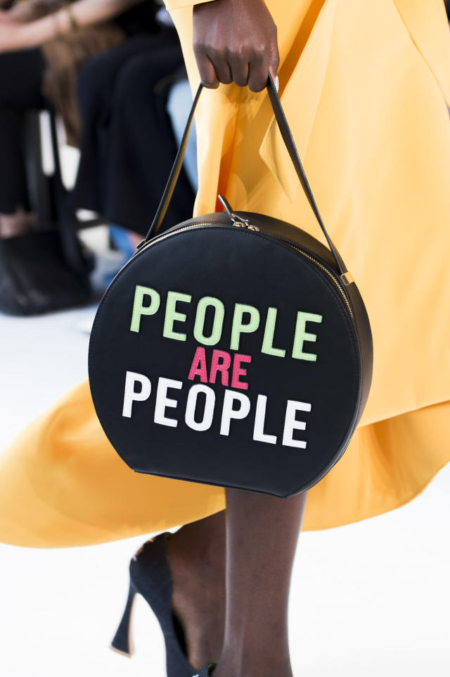 "<p><i>""People Are People"" circular statement bag from the SS18 Christian Siriano collection. (Photo: ImaxTree) </i></p>"