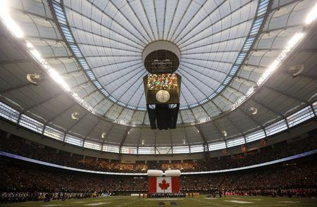 FILE PHOTO: General view of ceremonies being held ahead of the start of the CFL's 102nd Grey Cup football championsionship between the Calgary Stampeders and the Hamilton Tiger Cats in Vancouver, British Columbia, November 30, 2014. REUTERS/Mark Blinch