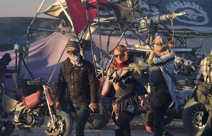 Elaborate sets at Wasteland Weekend are meant to replicate a post-apocalyptic world while live bands, DJs and stunt performers carry on into the small hours (AFP Photo/Frederic J Brown)