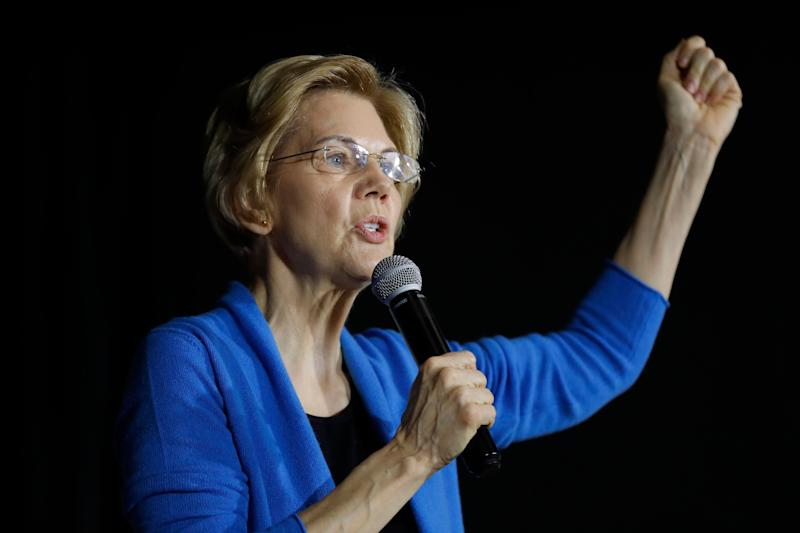 Sen. Elizabeth Warren, D-Mass., speaks to local residents during an organizing event, Sunday, Feb. 10, 2019, in Cedar Rapids, Iowa.(AP Photo/Charlie Neibergall)