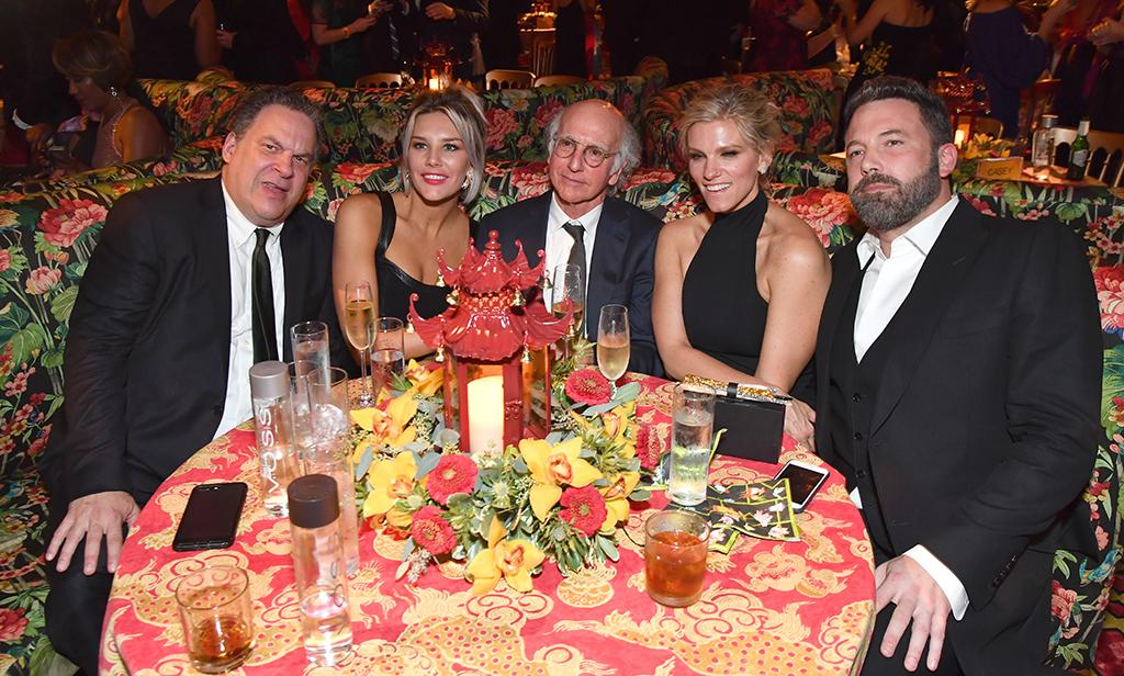 <p>We see you, Ben Affleck. The actor was the plus-one for his girlfriend, Lindsay Shookus, whose show, <em>Saturday Night Live</em>, was up for a whopping 22 Emmy noms and won, among others, Outstanding Variety Sketch Series. While they skipped red carpets, they stuck together throughout the night, including at the HBO after-party at the Plaza at the Pacific Design Center, where they shared a table with <em>Curb Your Enthusiasm</em>'s Jeff Garlin and Larry David, as well as TV host Charissa Thompson. (Photo: Jeff Kravitz/FilmMagic) </p>