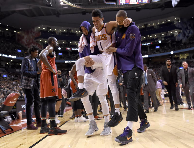 quality design 6ef83 5ccb2 Suns' Devin Booker out 2-3 weeks with left adductor strain