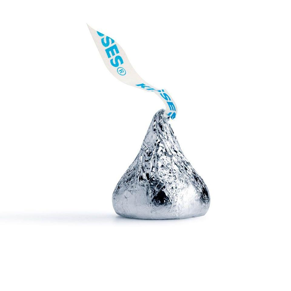 <p>Classic milk chocolate Hershey's Kisses had been a thing since 1907, but once they put an almond in the middle, it was THE preferred Kiss of 1988.</p>