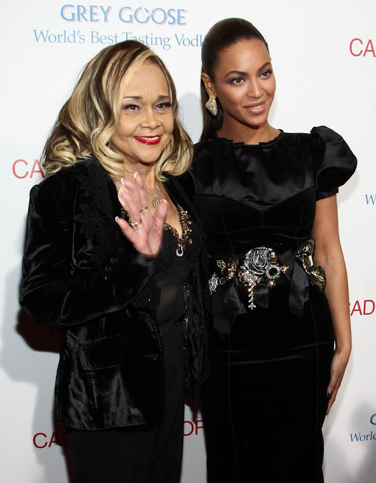 "HOLLYWOOD - NOVEMBER 24:  Singer Etta James and singer/actress Beyonce arrive at the premiere of ""Cadillac Records"" held at The Egyptian Theater on November 24, 2008 in Hollywood, California.  (Photo by Alberto E. Rodriguez/Getty Images)"