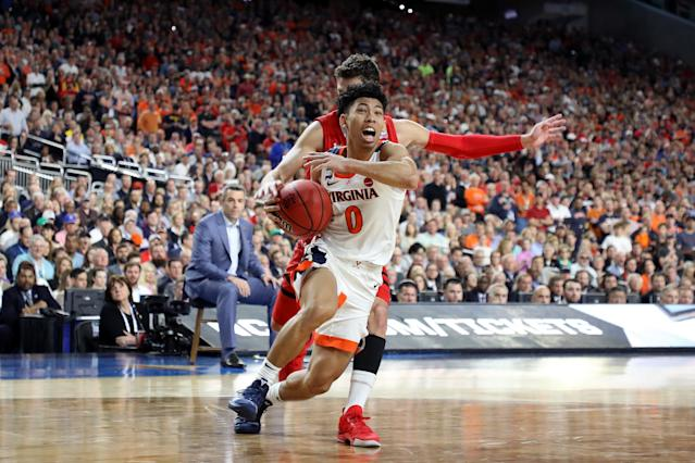 Kihei Clark #0 of the Virginia Cavaliers drives to the basket against the Texas Tech Red Raiders in the second half during the 2019 NCAA men's Final Four National Championship game at U.S. Bank Stadium on April 08, 2019 in Minneapolis, Minnesota. (Photo by Streeter Lecka/Getty Images)
