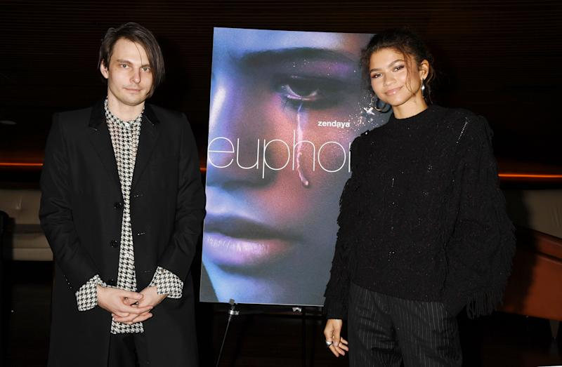 """LOS ANGELES, CA - NOVEMBER 12: Sam Levinson and Zendaya attend the HBO """"Euphoria"""" FYC at the Landmark Theaters on November 12, 2019 in Los Angeles, California. (Photo by FilmMagic/FilmMagic for HBO )"""