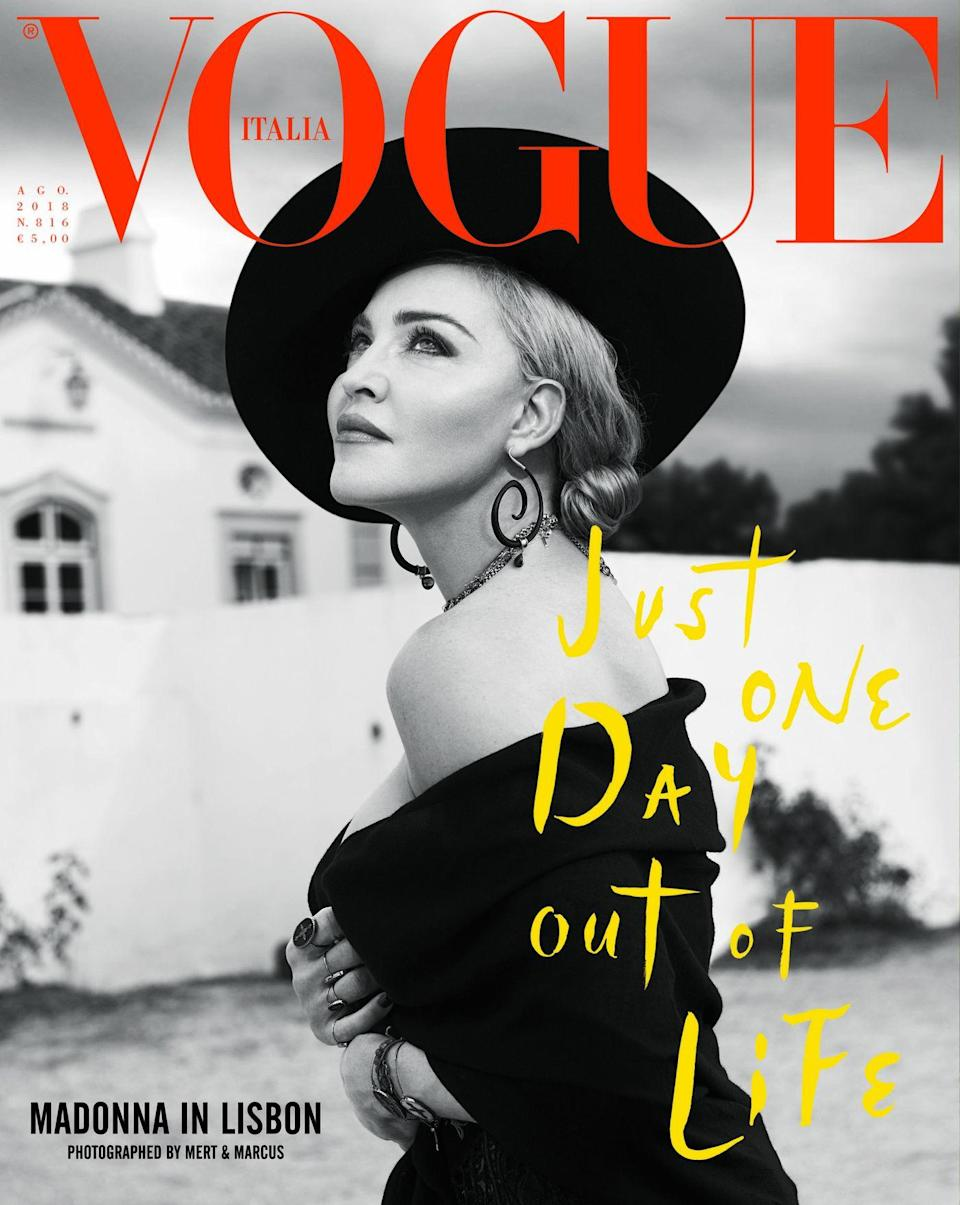 Madonna on one of the two covers of Vogue Italia.