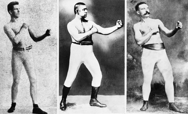 "FILE - From left to right, old time fighters Jim Corbett, John L. Sullivan and Jake Kilrain pose in undated photos. In 1889, John L. Sullivan, known as the Boston Strong Boy, beat Jake Kilrain in 75 rounds, yes, 75, in what the International Boxing Hall of Fame has called the ""last significant bare knuckle bout in boxing."" Since then, any bare-knuckle fighting witnessed by spectators have occurred mostly during impromptu bar fights. But on Saturday, June 2, 2018, at the Cheyenne Ice and Events Center in Wyoming, 10 bouts of bare-knuckle boxing, including one involving female fighters, are scheduled to be held in a ring with rounded ropes instead of the traditional square. (AP Photo/File)"