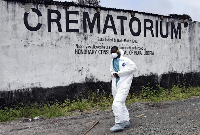 A crematorium where victims of Ebola are burned in Monrovia, on September 29, 2014 (AFP Photo/Pascal Guyot)
