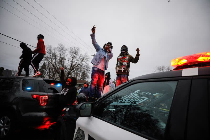 Protest after police allegedly shot and killed a man, in Brooklyn Center, Minnesota